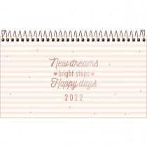 Imagem - Agenda Espiral Semanal 16,7 x 8,9 cm Soho 2022 - Listras Rosinhas - Sortido