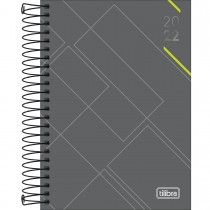 Imagem - Agenda Executiva Espiral Diária 13 x 18,8 cm Spot 2022 - Cinza com Verde