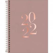 Imagem - Agenda Executiva Espiral Diária 17,7 x 24 cm Vanilla 2022 - Marrom Rose - Sortido