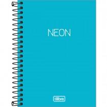 Imagem - Caderneta Espiral Capa Plástica 1/8 sem Pauta Neon Azul 80 Folhas