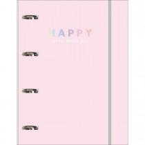 Imagem - Caderno Argolado Cartonado Universitário com Elástico Happy 80 Folhas