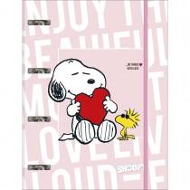 Imagem - Caderno Argolado Cartonado Universitário com Elástico Snoopy 80 Folhas