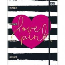 Imagem - Caderno Argolado Universitário Cartonado com Elástico Love Pink 80 Folhas