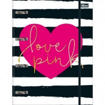 Imagem - Caderno Argolado Cartonado Universitário com Elástico Love Pink 80 Folhas