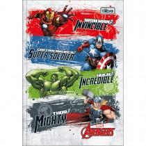 Imagem - Caderno Brochura Capa Dura 1/4 Avengers 80 Folhas - Quatro Heróis Fundo Branco - Sortido