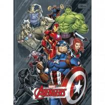 Imagem - Caderno Brochura Capa Dura Universitário Avengers 80 Folhas - Vários Heróis Fundo Cinza Manchado - Sortido...
