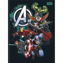 Imagem - Caderno Brochura Capa Dura Universitário Avengers 80 Folhas - Vários Heróis Fundo Preto - Sortido