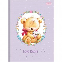 Caderno Brochura Capa Dura Universitário Love Bears 96 Folhas - Sortido (Pacote com 5 unidades)