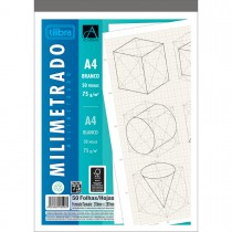 Caderno Colado Milimetrado A4 Branco Académie 50 Folhas