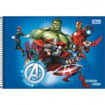 Imagem - Caderno de Cartografia e Desenho Espiral Capa Dura Avengers 80 Folhas - Vários Heróis Fundo Azul - Sortido...