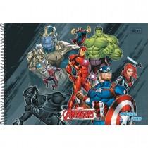 Imagem - Caderno de Cartografia e Desenho Espiral Capa Dura Avengers 80 Folhas - Vários Heróis Fundo Preto - Sortido...
