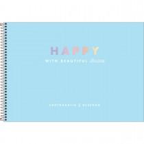 Imagem - Caderno de Cartografia e Desenho Espiral Capa Dura Happy 80 Folhas - Azul - Sortido