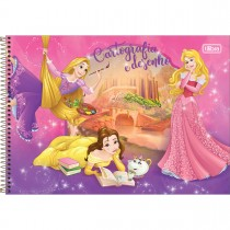 Imagem - Caderno de Cartografia e Desenho Espiral Capa Dura Princesas 96 Folhas - Sortido