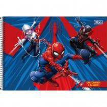 Imagem - Caderno de Cartografia e Desenho Espiral Capa Dura Spider-Man 80 Folhas - Spider-Man e Heróis Fundo Azul - Sortido...