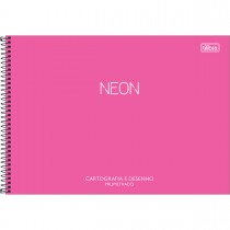 Imagem - Caderno de Cartografia e Desenho Milimetrado Espiral Capa Plástica Neon 80 Folhas (Pacote com 4 unidades) - Sortido...