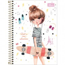 Caderno Espiral Capa Dura 1/4 Hi! Girls 80 Folhas (Pacote com 4 unidades) - Sortido