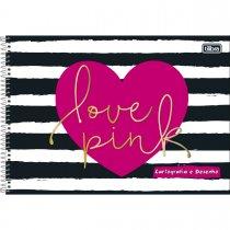 Imagem - Caderno Espiral Capa Dura Cartografia e Desenho Love Pink 96 Folhas - Sortido