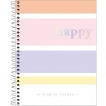Imagem - Caderno Espiral Capa Dura Colegial 1 Matéria Happy Colorido 80 Folhas