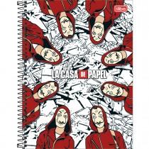 Caderno Espiral Capa Dura Universitário 1 Matéria La Casa de Papel 80 Folhas - Sortido