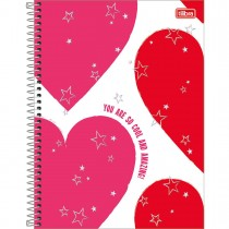 Imagem - Caderno Espiral Capa Dura Universitário 1 Matéria Love Pink 80 Folhas - Corações - Sortido
