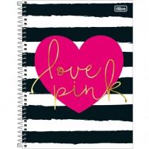 Imagem - Caderno Espiral Capa Dura Universitário 1 Matéria Love Pink 96 Folhas - Sortido