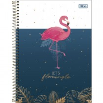 Imagem - Caderno Espiral Capa Dura Universitário 10 Matérias Aloha 160 Folhas - Let's Flamingle - Sortido