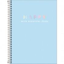 Imagem - Caderno Espiral Capa Dura Universitário 10 Matérias Happy 160 Folhas - Azul - Sortido