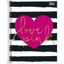Imagem - Caderno Espiral Capa Dura Universitário 12 Matérias Love Pink 240 Folhas - Sortido