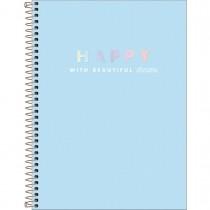 Imagem - Caderno Espiral Capa Dura Universitário 16 Matérias Happy 256 Folhas - Azul - Sortido