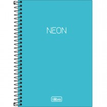 Imagem - Caderno Espiral Capa Plástica 1/4 Neon Azul 80 Folhas
