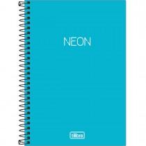 Imagem - Caderno Espiral Capa Plástica 1/4 sem Pauta Neon Azul 80 Folhas