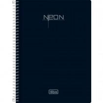 Caderno Espiral Capa Plástica 1/4 Sem Pauta Neon Preto 96 Folhas