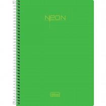 Imagem - Caderno Espiral Capa Plástica 1/4 Sem Pauta Neon verde 96 Folhas