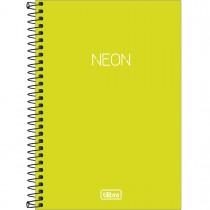 Imagem - Caderno Espiral Capa Plástica 1/4 sem Pauta Neon Verde-Limão 80 Folhas