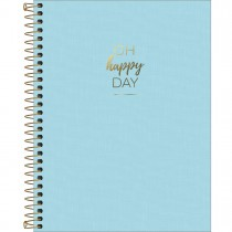 Imagem - Caderno Espiral Capa Plástica Colegial 1 Matéria Happy Azul 80 Folhas
