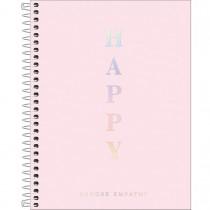 Imagem - Caderno Espiral Capa Plástica Colegial 1 Matéria Happy Rosa 80 Folhas