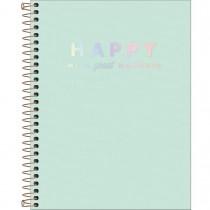 Imagem - Caderno Espiral Capa Plástica Colegial 1 Matéria Happy Verde 80 Folhas