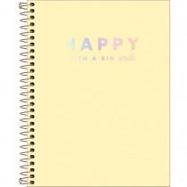 Imagem - Caderno Espiral Capa Plástica Colegial 10 Matérias Happy Amarelo 160 Folhas