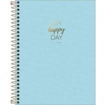 Imagem - Caderno Espiral Capa Plástica Colegial 10 Matérias Happy Azul 160 Folhas