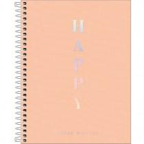 Imagem - Caderno Espiral Capa Plástica Colegial 10 Matérias Happy Coral 160 Folhas