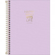 Imagem - Caderno Espiral Capa Plástica Colegial 10 Matérias Happy Lilás 160 Folhas