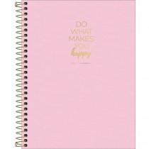 Imagem - Caderno Espiral Capa Plástica Colegial 10 Matérias Happy Rosa 160 Folhas