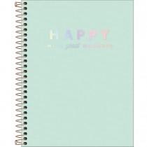 Imagem - Caderno Espiral Capa Plástica Colegial 10 Matérias Happy Verde 160 Folhas