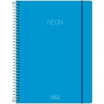 Imagem - Caderno Espiral Capa Plástica Universitário 1 Matéria Neon Azul 80 Folhas