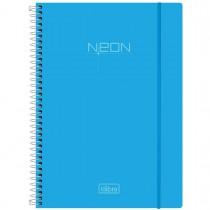 Imagem - Caderno Espiral Capa Plástica Universitário 1 Matéria Neon Azul 96 Folhas
