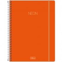 Caderno Espiral Capa Plástica Universitário 1 Matéria Neon Laranja 80 Folhas