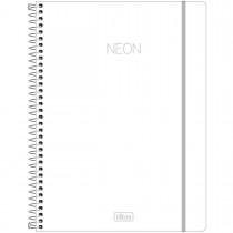 Caderno Espiral Capa Plástica Universitário 10 Matérias Neon Branco 160 Folhas