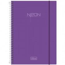 Imagem - Caderno Espiral Capa Plástica Universitário 10 Matérias Neon Lilás 200 Folhas