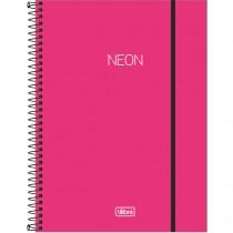 Imagem - Caderno Espiral Capa Plástica Universitário 10 Matérias Neon Pink 160 Folhas