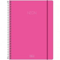 Imagem - Caderno Espiral Capa Plástica Universitário 10 Matérias Neon Rosa 160 Folhas
